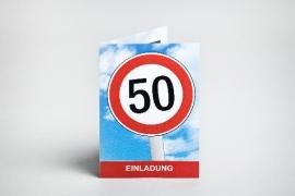 Einladungskart, Geburtstag, 50