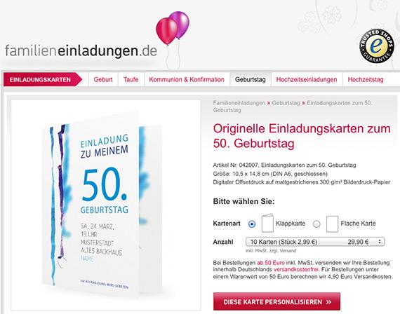 orginelle einladungskarte zum 50. geburtstag, Einladung