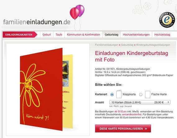 Einladungen für Kindergeburtstag