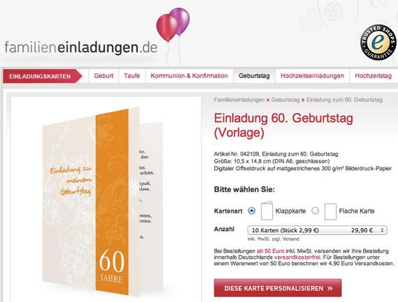 Einladung zum 60. Geburtstag, Vorlage, drucken