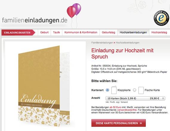 Familieneinladungen.de: Vorlage für eine Einladung zur Hochzeit