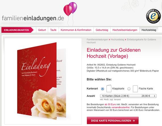 Ähnliche Artikel. Einladungskarten Zum Hochzeitsjubiläum Bei  Familieneinladungen.de · Die Goldene Hochzeit Meiner Großeltern