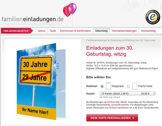 Blog Familieneinladungen De Startseite Einladungskarte Fur Den 30