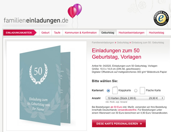 Vorlagen für Einladungen zum 50. Geburtstag