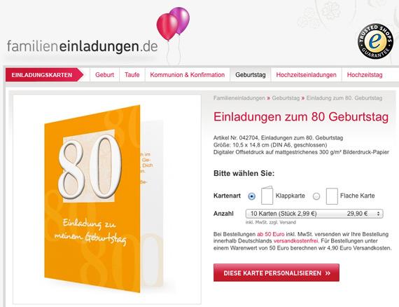 Vorlagen Für Einladungen Zum 80. Geburtstag