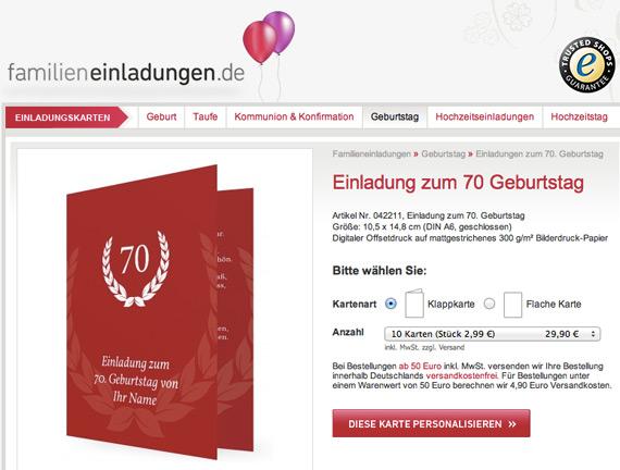 Einladung 70. Geburtstag