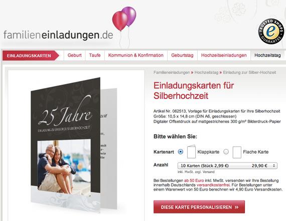 Einladungskarten Silberhochzeit Einladungskarten: Blog.familieneinladungen.de/startseite » Silberhochzeit