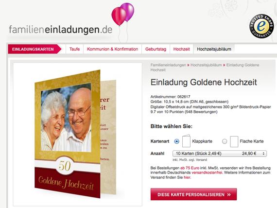 goldene hochzeit - stilvoll, moderne einladung, Einladung