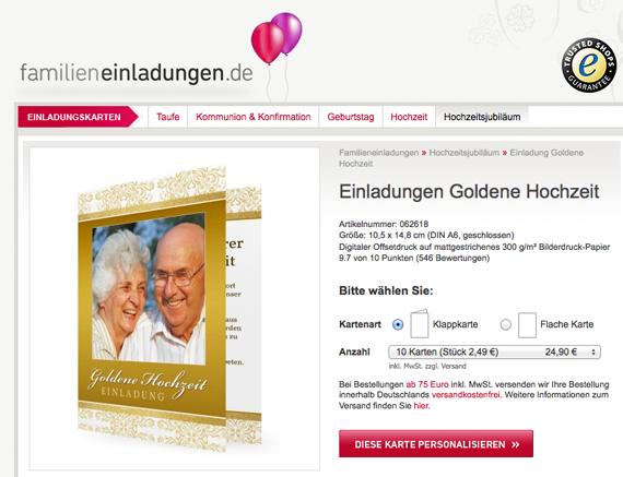 Goldene Hochzeit Einladungen