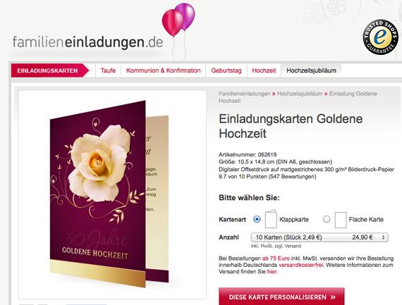 Einladungskarten für Goldene Hochzeit