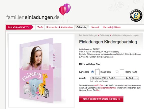 Einladungskarte Kindergeburtstag